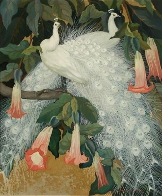 Jessie Arms Botke - White Peacocks in Angel's Trumpets