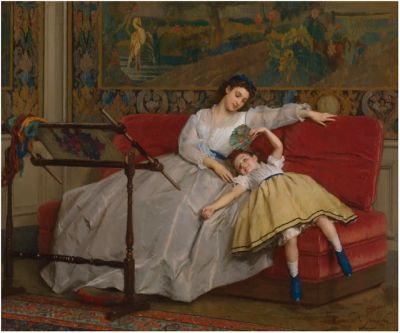 Gustave Léonard de Jonghe - Mother with her Young Daughter 1865