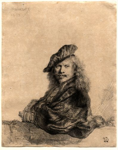 REMBRANDT Self Portrait Leaning on a Stone Sill 1639