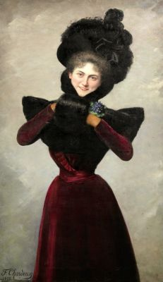 Francine CHARDERON Elegant Woman with Fur Muff 1899