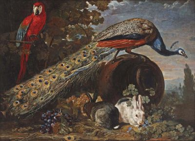 David de Coninck - A Peacock, a Macaw and Rabbits in a Landscape