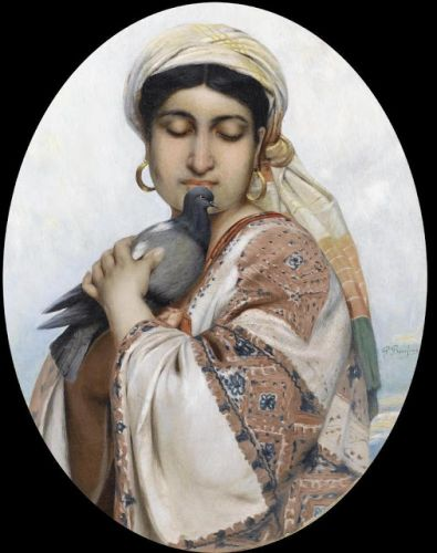 Polydore Beaufaux - Oriental Girl with a Dove