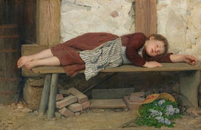 Albert Anker - Sleeping Girl on a Wooden Bench