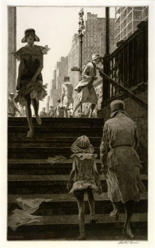 Martin Lewis - SUBWAY STEPS - 1930