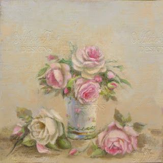 Antique pale roses in Blue milk porcelain