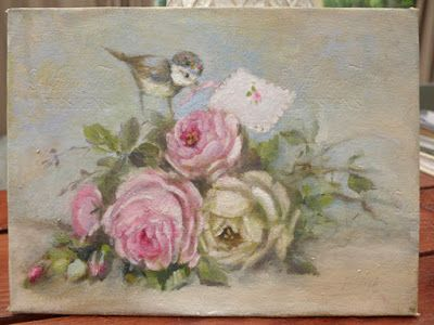 Rose tag, antique roses & baby Blue Tit