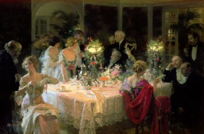 Jules GRÜN The End of Dinner 1913