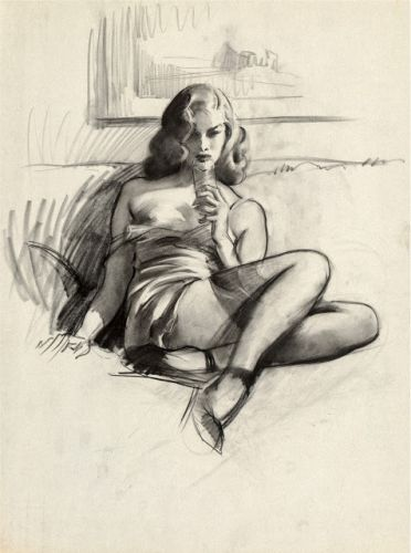 "Une esquisse de Gil Elvgren - ""I'm Not Bad.I'm Just Drawn that Way"" 1946"
