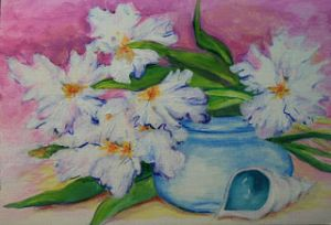 Irises, Shell and Bowl - Jean Nelson