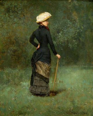 Emile HOETERICKX Elegant at the Garden Playing at the Croquet 1881