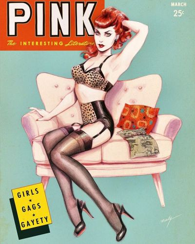 """A bad girl today! A small wink to the """"Wink"""" magazines of the 50s 🐆🤩🐆 The kind of magazine that people used to hide under the mattress. . . . pinupart wink magazinecovers tribute pinupstyle vintageinspired rockabillystyle rockabilly bettiepagebangs"""