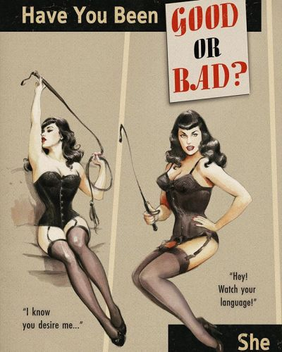 Have you been good or bad? It's always a matter of point of view.A woman with a horsewhip can handle the answer for you! 🖤Part 1 🖤 thanks to julien.marseille nylonfetish stockings stockingsfetish corset retrolingerie illustrationart bettiebangs
