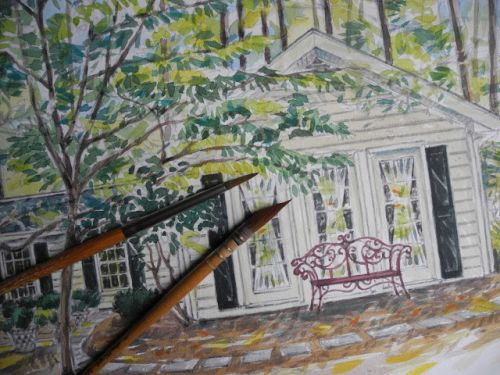WATERCOLOR OF A HOUSE IN NORTH CAROLINA