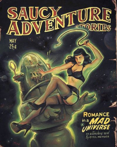 Another piece of archive here! A Saucy Adventure Stories magazine cover inspired artwork, featuring Robbie the legendary robot from The Forbidden Planet and our dear Bettie Page! I wanted to play with the original picture of Robbie holding a blonde