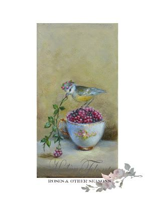 The gourmet bird & Sevres tea cup with blackberry