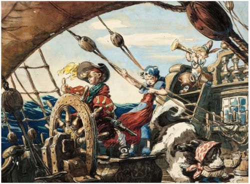 David Hall - Peter Pan - Peter and Wendy on the Jolly Roger - Walt Disney, 1940