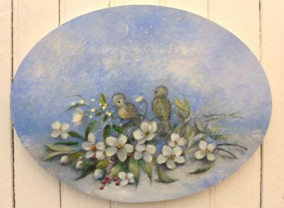 Snowy winter night with birds and christmas roses