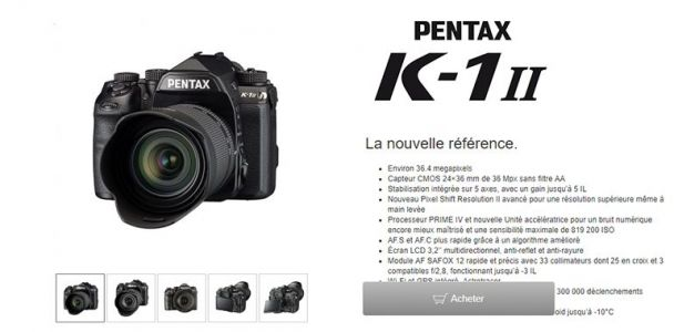 Pentax K1 Mark II:  819 200 ISO et Pixel Shift à main levée