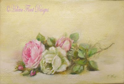 Antique roses pink and cream yellow -Catherine Klein tribute