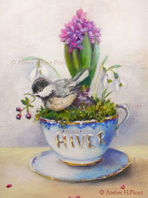 A bed of moss, snowdrops, hyacinth & little Chickadee: to celebrate winter