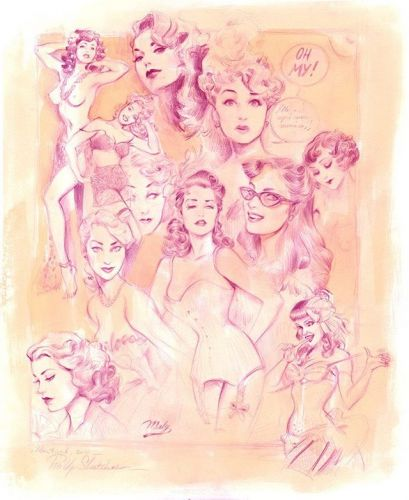 Pin-up Sketches! Made after numerous pics i had found online back then.tag if you recognize yourself! Thank you for the endless inspiration ladies 🌹 sketch sketchbook corset pinupart glamour womenempoweringwomen watercolor colerase sketchdaily