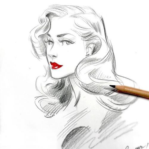"""Just a quick sketch for a """"book signature"""" 😘🌹yesterday! . . . . sketch pencilsketch quicksketch sketchdaily illustratorsofinstagram glamour vintageinspired glamourart pinupart fabercastell"""