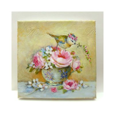 Crown Blue Tit, rose bouquet and Limoges tea cup with violet