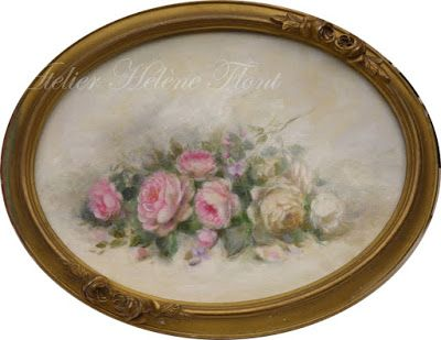 Antique pink & white roses in a oval