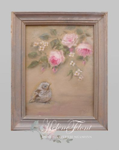 Baby sparrow & antique roses