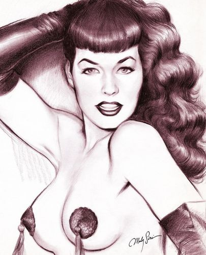 """""""I wasn't trying to be anything. I was just being myself."""" Bettie Mae Page, april 22, 1923 - december 11, 2008. . Happy Birthday Bettie!! 💋 You will inspire us forever! . . . . bettiepage bettiepagebangs bettypage tassels badgirl charcoaldrawing"""