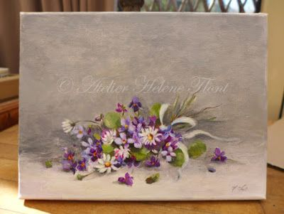 Wild daisies & violets with silk ribbon