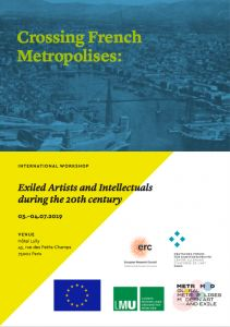 Colloque:  «Crossing french metropolises: exiled artists and intellectuals during the 20th cenury»