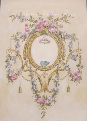 Ornament of roses , garland & bird painted in the style of the 18th century decoration