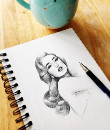 Sketch of the day! ✍🏻💋 . . . . sketchdaily sketch dailydose pinupart pinup glamour classichollywood oldhollywood pencildrawing cupoftea vintageinspired