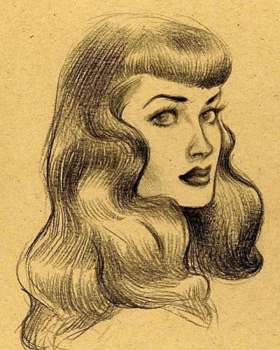 A little oldie i liked: ) throwback thenotoriousbettiepage . pencildrawing sketchbook sketch daily instagramartist sketching bettiepage bettiepagebangs pinupart pinupartist pinupstyle