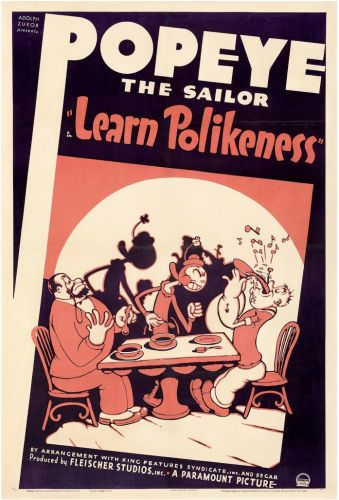 "Popeye the Sailor in ""Learn Polikeness"" - Paramount, 1938"